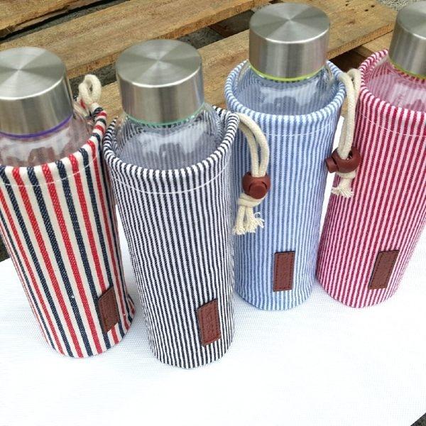 水杯   時尚帆布便攜玻璃杯550ml 水瓶 寬口杯 瓶子 咖啡杯  隨行杯 水壺 【KCG058】-收納女王