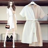 洋裝拼接裙子襯衫裙中大尺碼XL-5XL拼色洋氣顯瘦襯衣氣質減齡連身裙4F093-3110.胖妹大碼