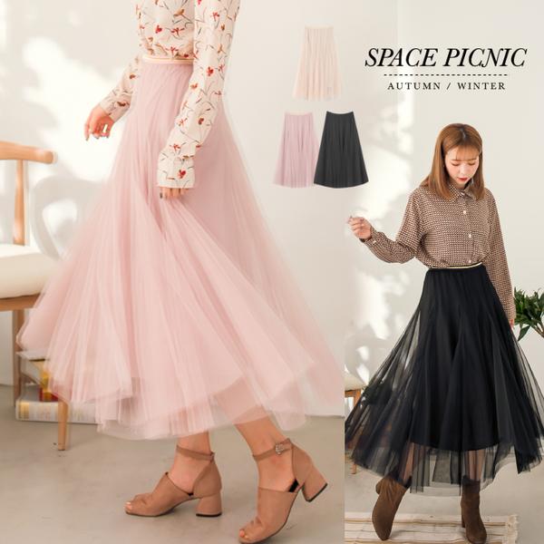 紗裙 Space Picnic 金邊素色雙層長紗裙(現貨)【C17123079】