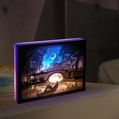 diy光影紙雕燈 diy手工材料包成品3d立體古風疊影抖音剪紙刻台燈 - 歐美韓熱銷
