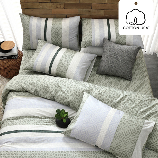 床包組 單人床包組/亞特森綠/美國棉授權品牌[鴻宇]台灣製2030