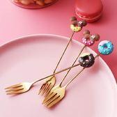 2個裝 卡通可愛甜甜圈不銹鋼水果叉子創意米奇甜品冰淇淋叉勺 黛尼時尚精品