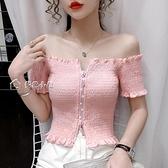 露肩短袖泫雅風粉色雙拉鍊頭設計感褶皺小衫夏短款一字肩露鎖骨短袖襯衫女 快速出貨