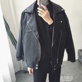 男士皮衣春秋季修身韓版寬鬆潮流帥氣新款大碼機車皮夾克外套   原本良品