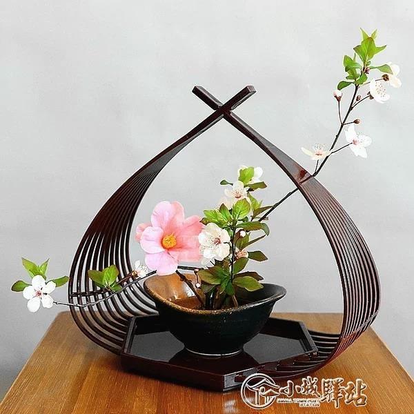 茶席花器禪意日式劍山插花器家居桌面擺件塑膠花架中式劍山花器架 小城驛站