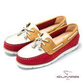 ★新品上市★【CUMAR】台灣製造撞色時尚真皮帆船鞋(紅)