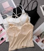 冰絲美背吊帶背心女性感交叉帶打底內搭抹胸內衣防走光聚攏裹胸式  百搭潮品