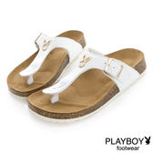 PLAYBOY 清新樣貌 可愛色系兔頭夾腳拖鞋-白