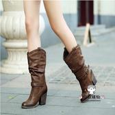 中筒靴 女粗跟2019秋冬新款復古高筒女靴英倫風馬丁靴女瘦瘦高跟靴WY