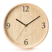 HOLA 曲木靜音壁鐘 直徑25cm 木紋色款