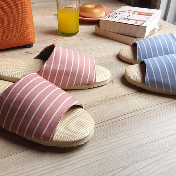 台灣製造-療癒系-舒活草蓆室內拖鞋-B-玫瑰褐條紋