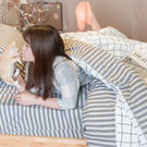 Cube&Line【床包灰線條】D4雙人床包雙人兩用被4件組 四季磨毛布 北歐風 台灣製造 棉床本舖