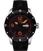 TISSOT 天梭 T-Navigator 霸氣型男機械手錶-黑/橘時標/橡膠 T0624301705701