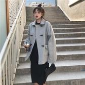 斗篷外套 新款秋冬裝短款呢子外套女小個子牛角扣大衣 【免運86折】