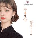 素簡手作《L212》韓國耳環不對稱垂墜耳環耳夾