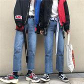 牛仔褲 復古水洗牛仔藍毛邊牛仔褲18ss男女款 傾城小鋪