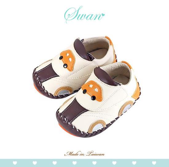 Swan天鵝童鞋-車車造型翹頭學步鞋1564-米