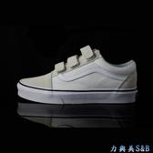 【懶人鞋】VANS 休閒鞋 3片式魔鬼氈設計可調整腳背鬆緊 百搭舒適好穿 白+米灰色鞋面  【3284】