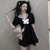 夏季2021新款海軍風收腰顯瘦水手服暗黑系減齡黑色顯瘦洋裝女 【端午節特惠】