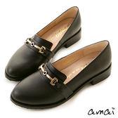 amai質感金釦微尖頭樂福紳士鞋 黑