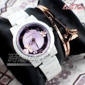 RELAX TIME 關詩敏 Garden系列 蝴蝶紛飛 鏤空陶瓷腕錶 防水錶 贈手環 白x紫 RT-80-6
