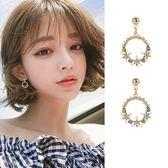 【NiNi Me】韓系耳環 奢華繽紛水鑽花圈925銀針耳環 耳環 N0298