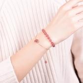 晶立方草莓晶手?女士韓版粉色水晶桃花學生閨蜜生日禮物925銀 居享優品