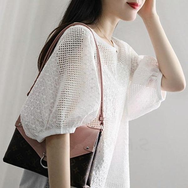 t恤女白色寬鬆短袖大碼純色上衣體恤衫新款半袖韓版刺繡圓領 快速出貨
