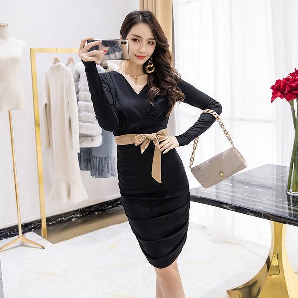 VK旗艦店 韓系氣質性感高腰綁帶長袖修身V領長袖洋裝