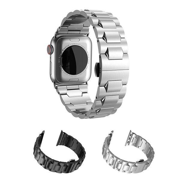 【愛瘋潮】贈送拆錶帶工具套裝 hoco Apple Watch 4 4代 (42/44mm) 格朗鋼錶帶-黑色款