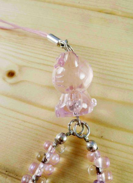 【震撼精品百貨】Hello Kitty 凱蒂貓~KITTY手機提帶-透明粉珠