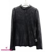 【SHOWCASE】氣質蕾絲領菱格網紗長袖內搭上衣(黑)