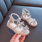 女童涼鞋 女童涼鞋夏季新款正韓時尚小女孩水鑚鞋兒童蝴蝶結涼鞋羅馬鞋-Ballet朵朵