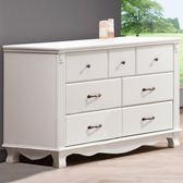 【J-style】法式古典浪漫3.8x2.5尺七抽床頭櫃/邊櫃-白色