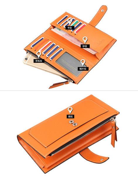 女包包 現貨 皮夾 韓版拉鍊復古鈕釦長皮夾 手機錢包-P9343-寶來小舖
