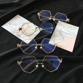 復古防藍光金屬圓球平光鏡男女裝飾眼鏡框架大框鏡【販衣小築】