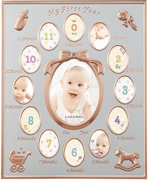 【快速出貨】 日本 Ladonna 徐若瑄款 金屬相框 週歲成長紀錄 MB84-130 嬰兒小V寶【小福部屋】