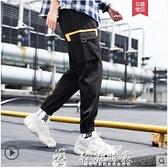 運動褲 男士褲子韓版潮流工裝褲運動束腳九分褲直筒寬鬆夏季休閒長 芊墨左岸