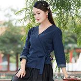 民國風女交領禪服復古文藝中式上衣
