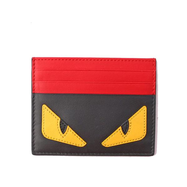 【FENDI】Monster Eyes黃眼睛信用卡/名片夾(黑/紅) 7M0164 073 F0U9T