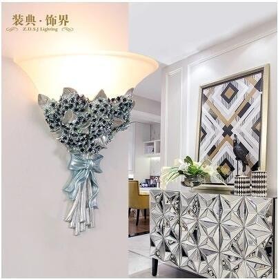 北歐田園客廳燈具現代簡約創意花朵床頭燈
