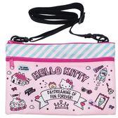 〔小禮堂]Hello Kitty 尼龍雙層拉鍊扁平斜背袋《粉綠.插圖》側背袋.收納包 4930972-47833