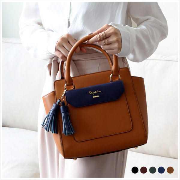 手提包-skyblue自訂撞色流蘇真皮大方手提包-共5色-A03031333-天藍小舖