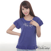 Victoria 優雅印花縫珠圓領衫-女-藍色-Y8506156
