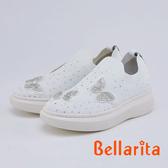 bellarita.華麗蝴蝶水鑽針織休閒鞋(0402-15白色)