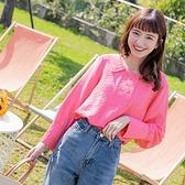 《AB9141》襯衫領排釦設計後鬆緊純色上衣 OrangeBear