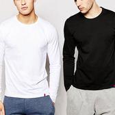 長袖t恤男棉質薄款衣寬鬆圓領青年純色白色男士打底衫