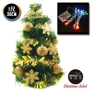 【摩達客】台灣製迷你1尺(30cm)裝飾綠色聖誕樹(金球雪花系)+LED20燈彩光電池燈