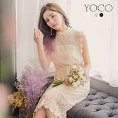 東京著衣【YOCO】氣質女神小立領全蕾絲無袖洋裝-S.M.L(180119)