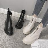 馬丁靴前拉錬平底網紅短靴女冬新款瘦瘦靴百搭英倫風帥氣馬丁靴秋款新品 全館免運